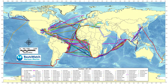 chart depicting optimized vessel routes